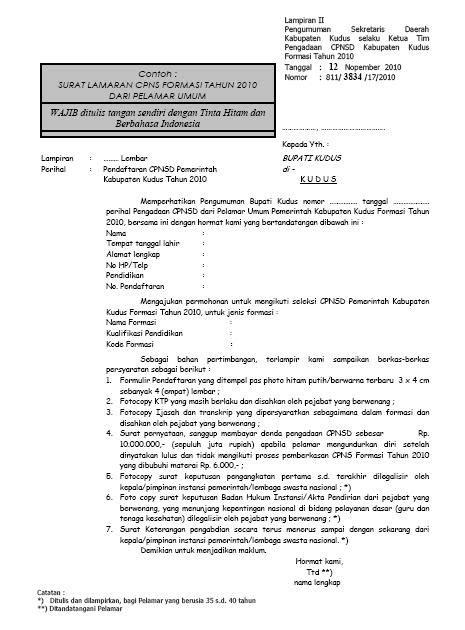 contoh surat lamaran cpns kabupaten kudus personal bisnis hobi