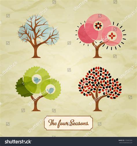 illustration of season trees four seasons trees background illustration stock vector 125992355