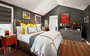 Gray And White Striped Duvet Cover Gray And Orange Boy S Room Contemporary Boy S Room
