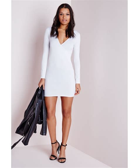 Dress Bodycon Wedges Diskon lyst missguided sleeve wrap bodycon dress white in white