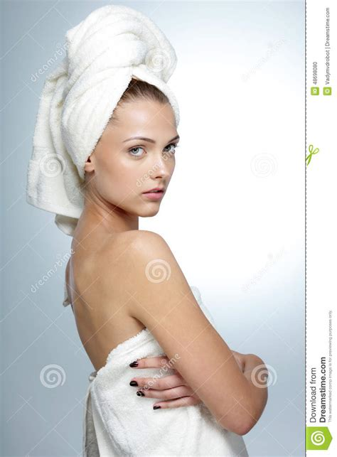 bathroom facial woman with clean face after bath stock photo image 48698080