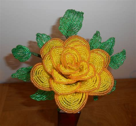 beaded flowers large yellow floribunda epochbeadsuk