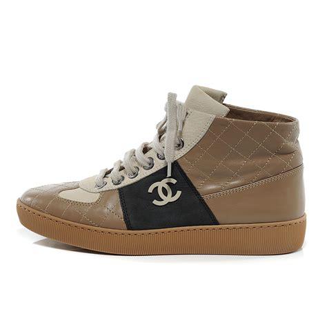 chanel leather quilted hightop tennis shoes 6 beige 52194