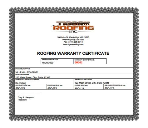 warranty certificate template free warranty certificate template 7 free documents