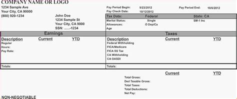 blank payroll check template blank pay stub template pdf html autos post