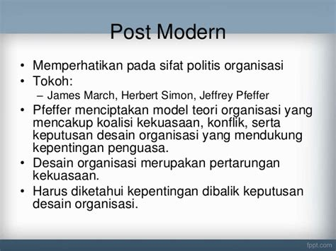 desain struktur organisasi modern ppt evolusi teori manajemen aliran post modern