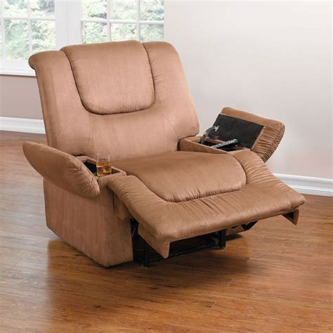 Recliner With Storage by Plush Wide Recliner With Storage Arms
