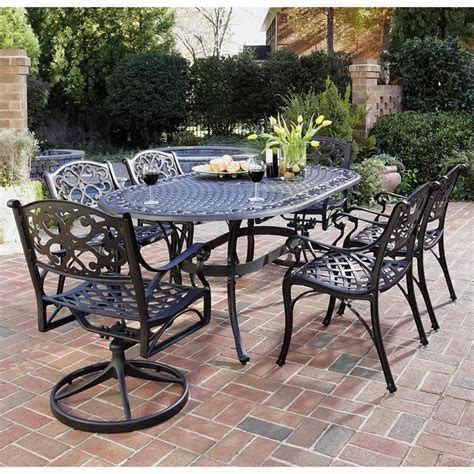 Outdoor Dining Sets Metal 7 Metal Patio Dining Set In Black 5554 3358