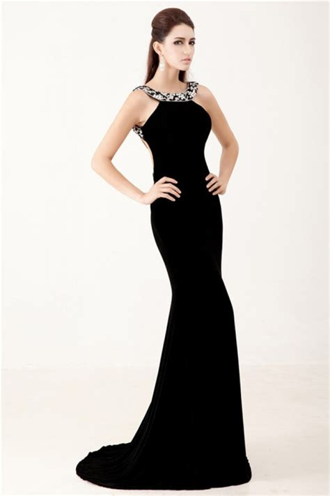 beaded backless prom dress mermaid backless black chiffon beaded formal evening