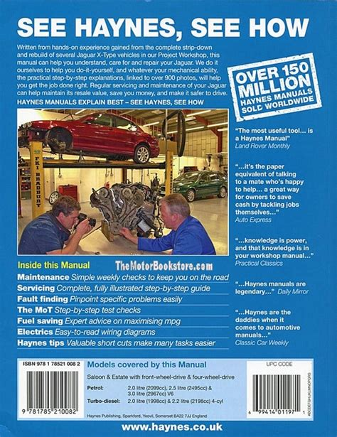 haynes manual jaguar x type petrol diesel 2001 2010 jaguar x type service repair manual 2001 2011 haynes 5631