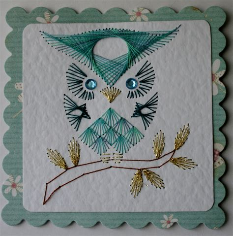 card patterns stitched owl card broderi owl card owl