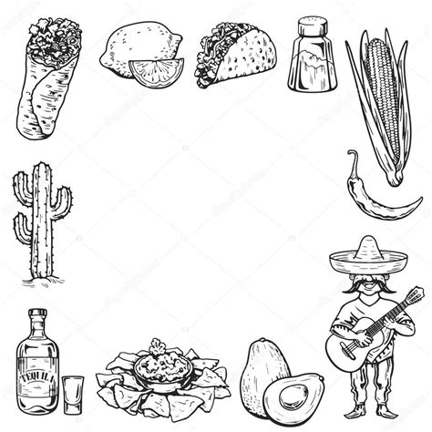 draw vector travel to mexico food culture drink cuisine draw