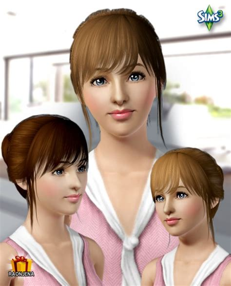 sims 3 custom content fringe hairstyle the sims 3 bun with fringe on the cheek hairstyle hair 12