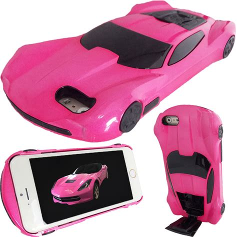 new 3d pink american race car for apple iphone 6 6s stand cover ebay