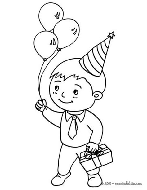 boy with a birtday gift coloring pages hellokids com