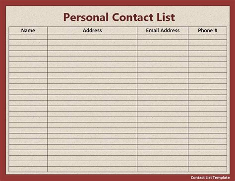 Contact List Template Free Word Templates Sheets Contact List Template