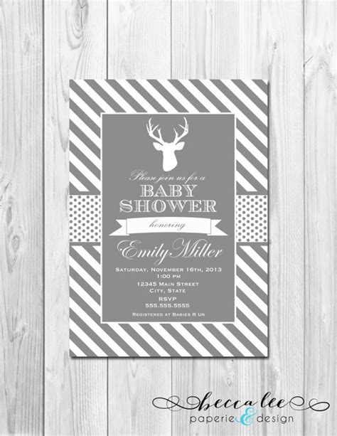 grey and white baby shower invitations deer baby shower invitation grey and white by beccaleepaperie