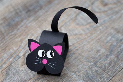 Black Craft Paper - how to make a paper bobble black cat
