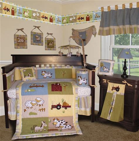 Farm Animal Crib Bedding Baby Boutique On The Farm 13 Pcs Crib Nursery Bedding Set Ebay