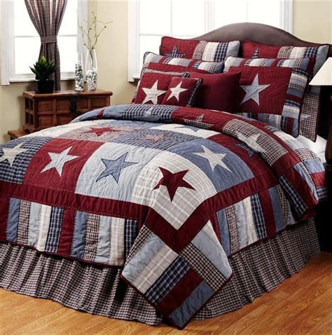 americana bedding blue red star primitive americana 6pc king quilt set ebay