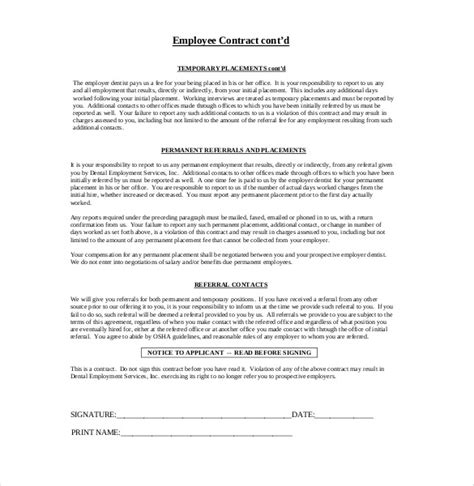 staff contracts template 19 employment agreement templates free sle exle