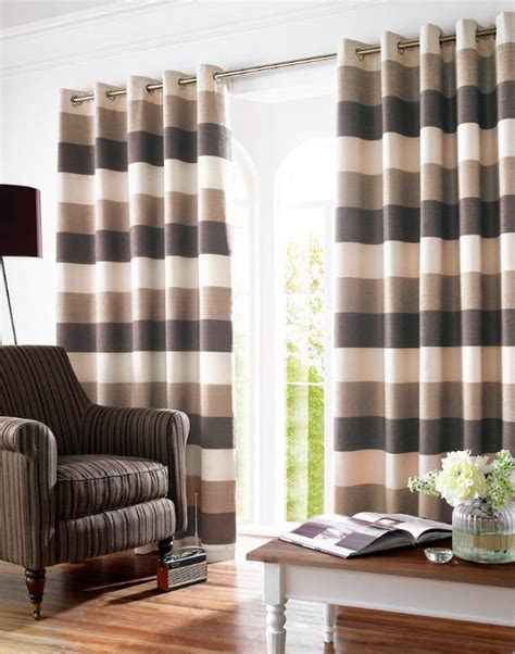 brown and cream striped curtains cream beige brown stripe lined eyelet curtains ebay