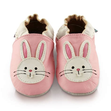 Bunny Shoes Baby pink bunny soft leather baby shoes by snuggle