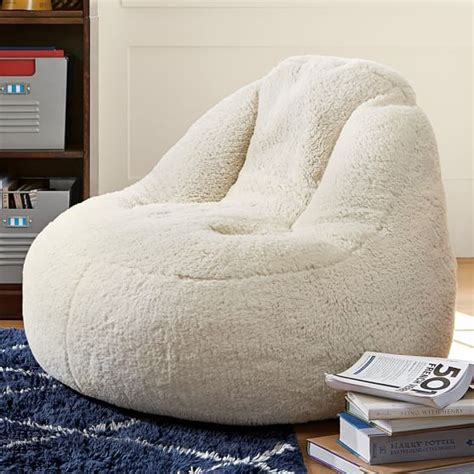 teen bedroom chairs ivory sherpa faux fur leanback lounger pbteen
