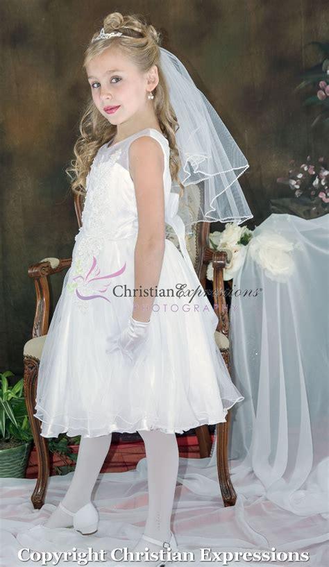 beaded organza tea length communion dress