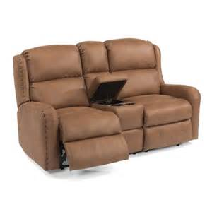 Oversized Reclining Sofa Flexsteel Cameron Rustic Power Reclining Loveseat With Storage Console And Oversized Nailheads