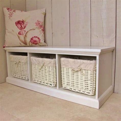 storage bench seat with baskets cream 3 basket storage bench bliss and bloom ltd