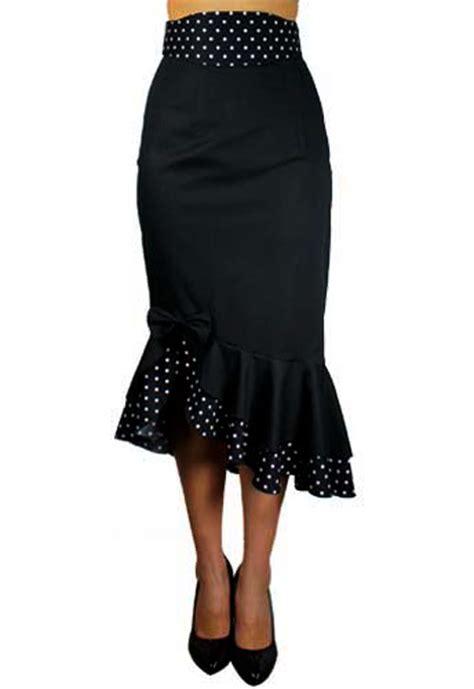rk32 polka dot fitted flared work pencil skirt rockabilly