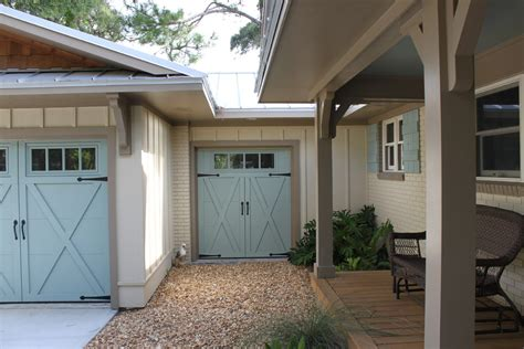 Traditional Master Bedroom - carriage style garage doors garage and shed tropical with beaches blue garage door