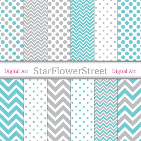 pattern aqua blue boy digital paper instant download chevron polka dot