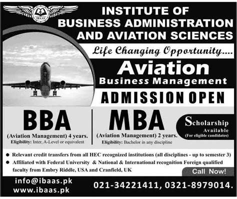 Mba Subjects In Karachi bba and mba aviation management admissions in karachi