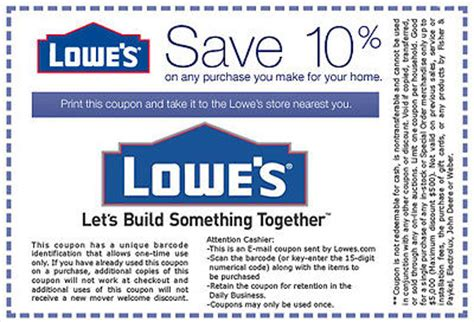 lowes 10 coupons of your purchase exp 04 15