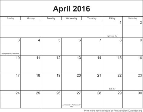 printable monthly calendar without holidays april 2016 printable blank calendar printable blank
