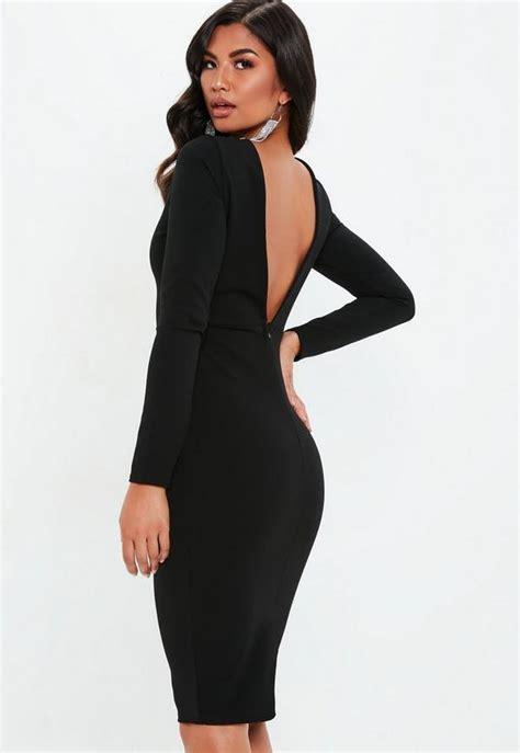 vestido midi  espalda descubierta en negro missguided