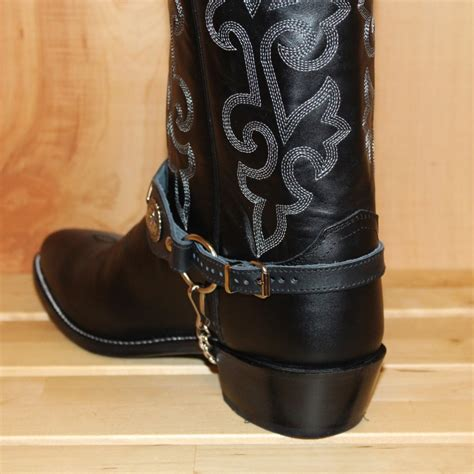 boot straps alm 559 bl boot black leather black nickle conchos