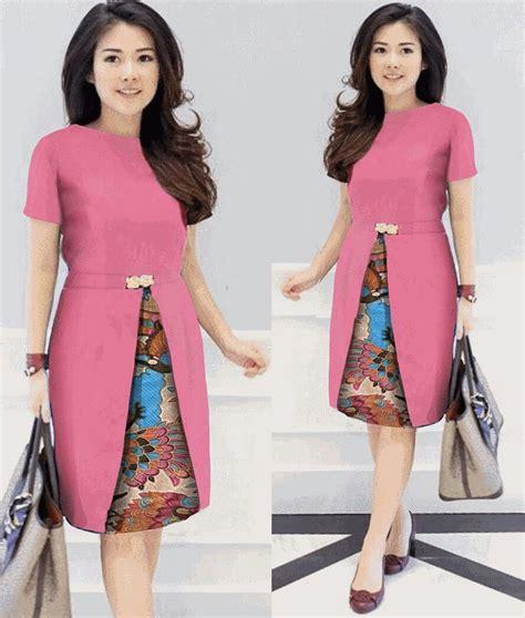 Model Terbaru Murah Kode 5027 Pink Best Seller jual g md kahitna batik pink baju dress wanita cewe kombi batik kerja kantor kondangan