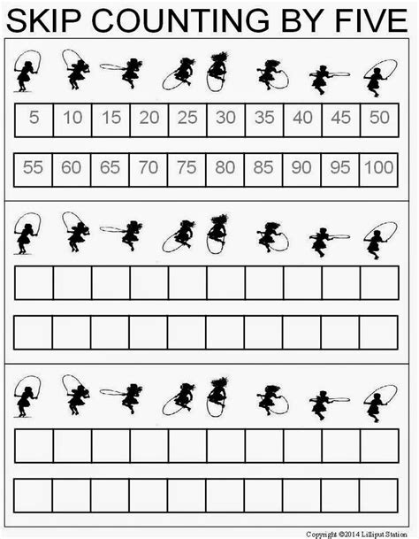 lilliput station skip counting worksheets for 2 s and 5 s
