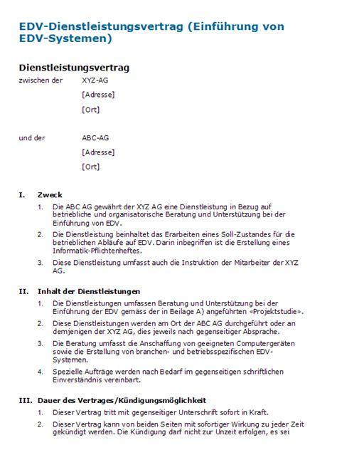 Muster Dienstleistungsvertrag Schweiz Edv Dienstleistungsvertrag Muster Zum