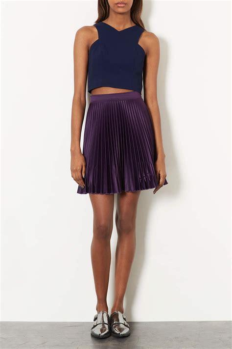 Topshop Acetate Dress by Topshop V Neck Cutaway Crop Top In Blue Lyst