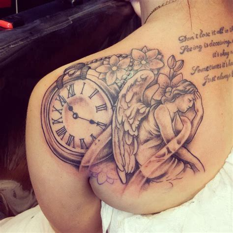 tattoo angel and clock clock and angel tattoo on back shoulder for gilrs