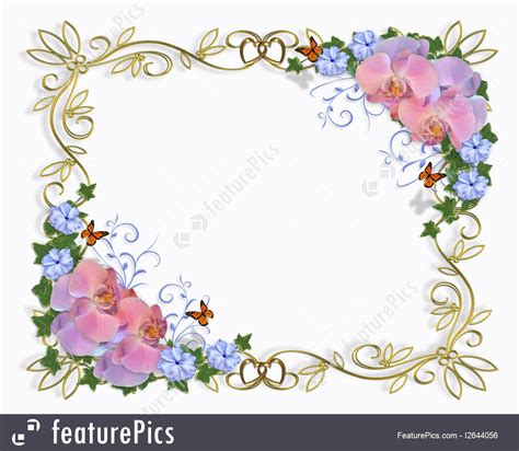 wedding announcement borders templates wedding invitation border orchids stock