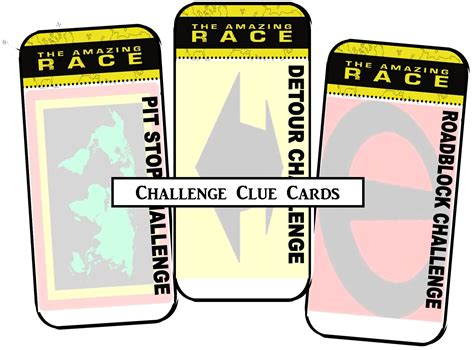 clue cards place template amazing race printables review concert