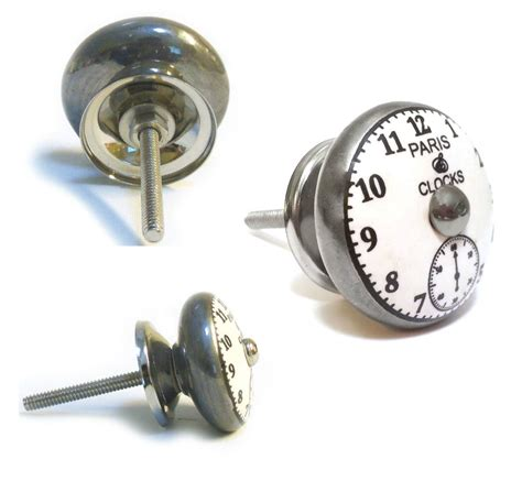 Pushka Door Knobs by Pushka Knobs Vintage Shabby Chic Clock Ceramic