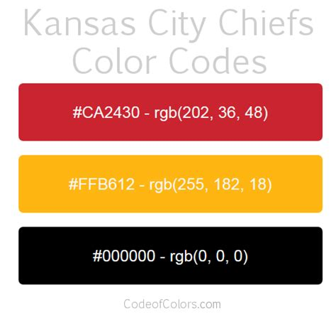 kansas city chiefs colors hex and rgb color codes