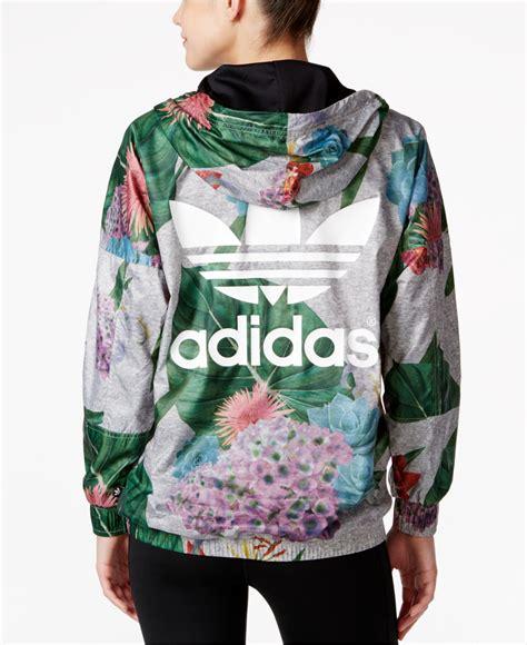 Jaket Adidas Floral adidas originals floral print half zip windbreaker lyst