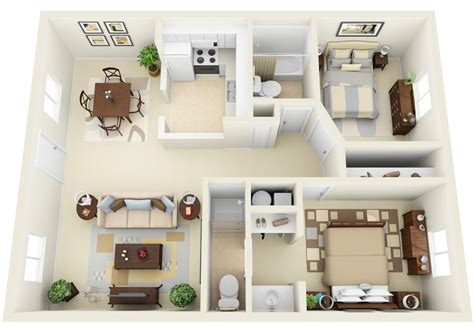 Two Bedrooms by 2 Bedroom Apartment House Plans